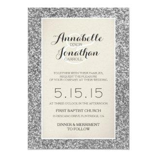 Silver Glitter Wedding Announcement Invitation