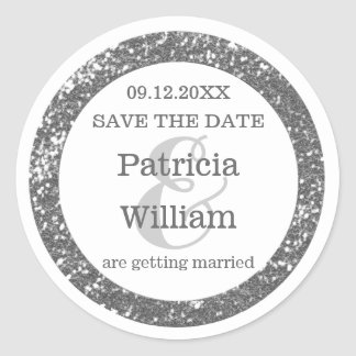 Silver Glitter Wedding Save The Date Classic Round Sticker