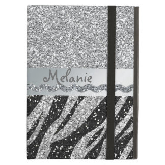 Silver Glitter Zebra Monogram iPad Air Case