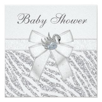 Silver Glitter Zebra Print & Swan Baby Shower 13 Cm X 13 Cm Square Invitation Card