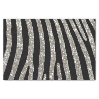 Silver Glitter Zebra Stripe Tissue Paper