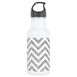 Silver Glitter Zigzag Stripes Chevron Pattern 532 Ml Water Bottle