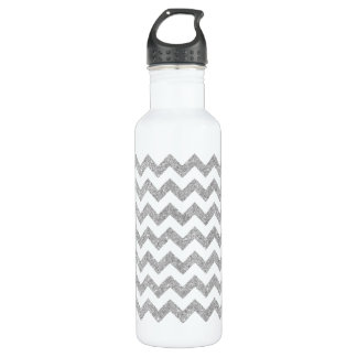 Silver Glitter Zigzag Stripes Chevron Pattern 710 Ml Water Bottle