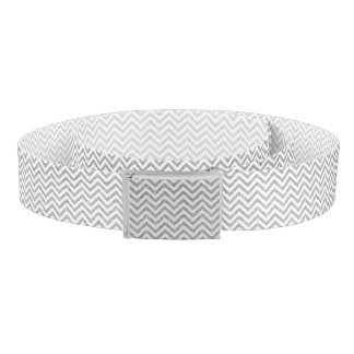 Silver Glitter Zigzag Stripes Chevron Pattern Belt