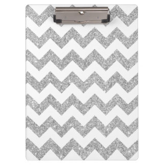 Silver Glitter Zigzag Stripes Chevron Pattern Clipboard