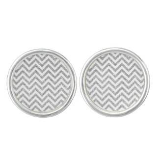 Silver Glitter Zigzag Stripes Chevron Pattern Cufflinks