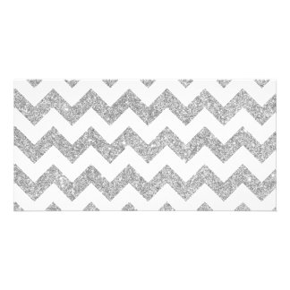 Silver Glitter Zigzag Stripes Chevron Pattern Customized Photo Card