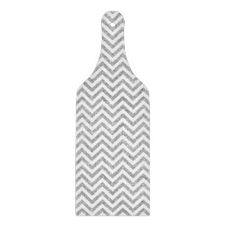 Silver Glitter Zigzag Stripes Chevron Pattern Cutting Board