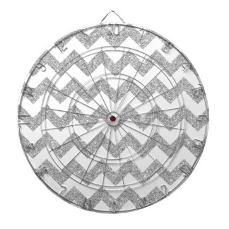 Silver Glitter Zigzag Stripes Chevron Pattern Dart Board