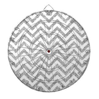Silver Glitter Zigzag Stripes Chevron Pattern Dartboard