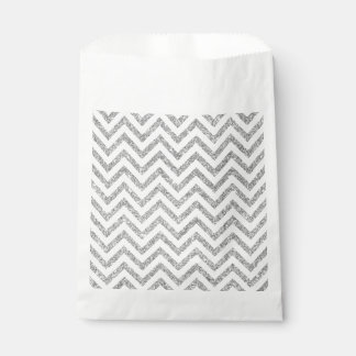 Silver Glitter Zigzag Stripes Chevron Pattern Favour Bag
