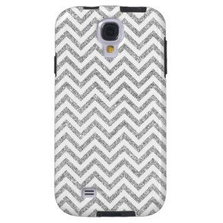 Silver Glitter Zigzag Stripes Chevron Pattern Galaxy S4 Case