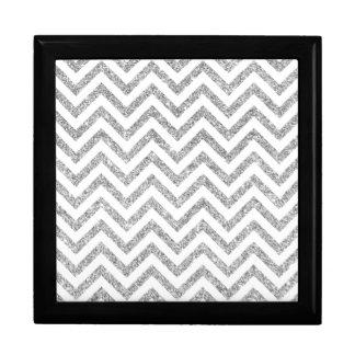 Silver Glitter Zigzag Stripes Chevron Pattern Gift Box