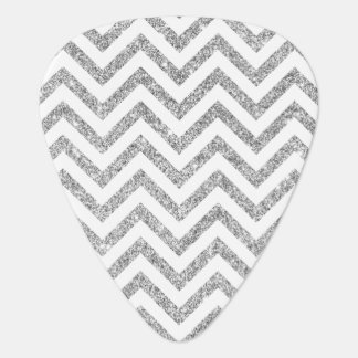 Silver Glitter Zigzag Stripes Chevron Pattern Guitar Pick