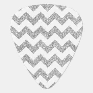Silver Glitter Zigzag Stripes Chevron Pattern Guitar Pick