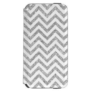 Silver Glitter Zigzag Stripes Chevron Pattern Incipio Watson™ iPhone 6 Wallet Case