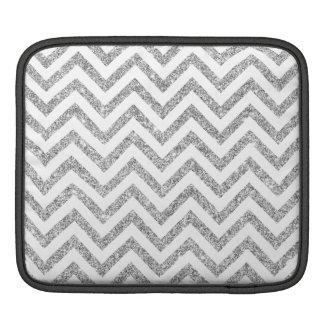 Silver Glitter Zigzag Stripes Chevron Pattern iPad Sleeve
