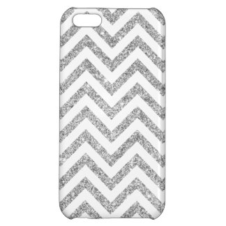 Silver Glitter Zigzag Stripes Chevron Pattern iPhone 5C Covers