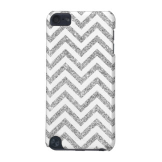 Silver Glitter Zigzag Stripes Chevron Pattern iPod Touch (5th Generation) Covers