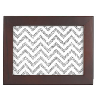 Silver Glitter Zigzag Stripes Chevron Pattern Keepsake Box