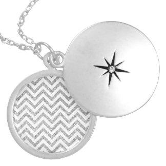 Silver Glitter Zigzag Stripes Chevron Pattern Locket Necklace