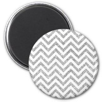 Silver Glitter Zigzag Stripes Chevron Pattern Magnet