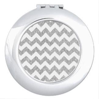 Silver Glitter Zigzag Stripes Chevron Pattern Makeup Mirrors