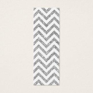 Silver Glitter Zigzag Stripes Chevron Pattern Mini Business Card
