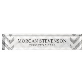 Silver Glitter Zigzag Stripes Chevron Pattern Name Plate