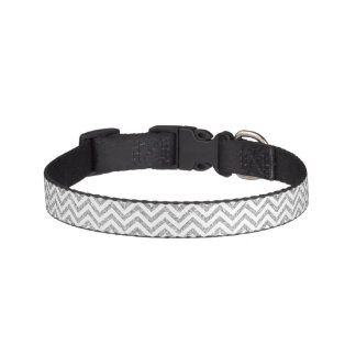 Silver Glitter Zigzag Stripes Chevron Pattern Pet Collar