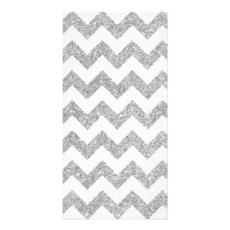 Silver Glitter Zigzag Stripes Chevron Pattern Photo Card