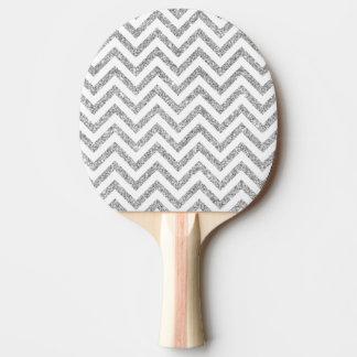 Silver Glitter Zigzag Stripes Chevron Pattern Ping Pong Paddle