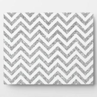 Silver Glitter Zigzag Stripes Chevron Pattern Plaque