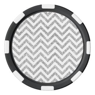 Silver Glitter Zigzag Stripes Chevron Pattern Poker Chips