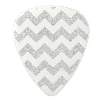 Silver Glitter Zigzag Stripes Chevron Pattern Polycarbonate Guitar Pick