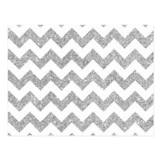 Silver Glitter Zigzag Stripes Chevron Pattern Postcard