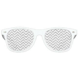Silver Glitter Zigzag Stripes Chevron Pattern Retro Sunglasses