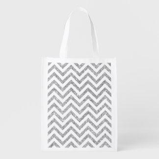 Silver Glitter Zigzag Stripes Chevron Pattern Reusable Grocery Bag