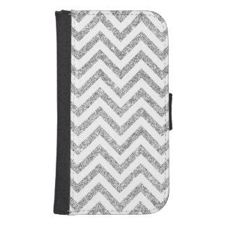 Silver Glitter Zigzag Stripes Chevron Pattern Samsung S4 Wallet Case