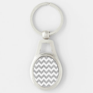 Silver Glitter Zigzag Stripes Chevron Pattern Silver-Colored Oval Key Ring