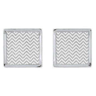 Silver Glitter Zigzag Stripes Chevron Pattern Silver Finish Cuff Links