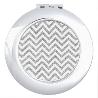 Silver Glitter Zigzag Stripes Chevron Pattern Vanity Mirrors