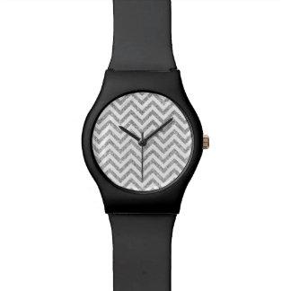 Silver Glitter Zigzag Stripes Chevron Pattern Watch