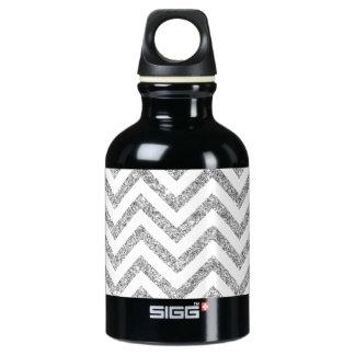 Silver Glitter Zigzag Stripes Chevron Pattern Water Bottle