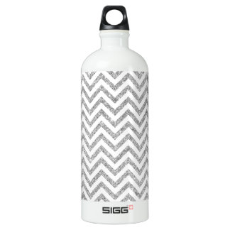 Silver Glitter Zigzag Stripes Chevron Pattern Water Bottle