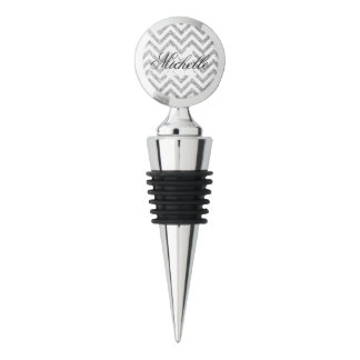 Silver Glitter Zigzag Stripes Chevron Pattern Wine Stopper