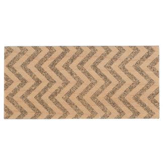Silver Glitter Zigzag Stripes Chevron Pattern Wood USB Flash Drive