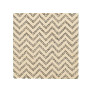 Silver Glitter Zigzag Stripes Chevron Pattern Wood Wall Art
