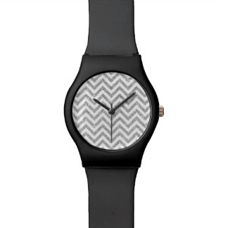 Silver Glitter Zigzag Stripes Chevron Pattern Wrist Watches