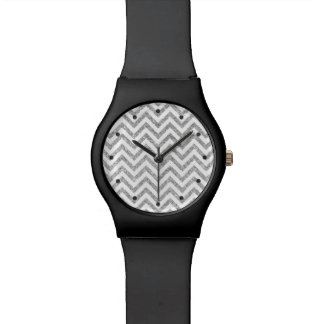 Silver Glitter Zigzag Stripes Chevron Pattern Wristwatches